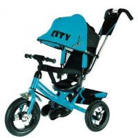 Прочие 11-135901 Велосипед-коляска CITY JD7BT (3-х колесный,ручка управления,надувные колеса d=12 и 10 дюймов,регулируемая спинка) (голубой), (SHENZHEN GBC GLORY BUSINESS CORPORATION LTD)