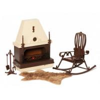 Прочие 11-136853 Мебель для кукол Набор мебели для каминной (15 предметов) (в коробке) (от 4 лет) С-1301, (Огонек)