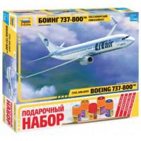 ЗВЕЗДА 11-136873 Сборная Модель 1:144 Пассажирский авиалайнер Боинг 737-800 (модель+клей+краски+кисточка) 7019П