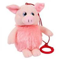 Прочие 11-154322 Мягкая игрушка Свинка пушистая (16см, звук появляется после удара, с карабином) 19758, (Junfa Toys Ltd)