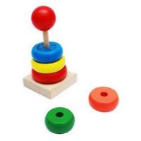 Рыжий кот 11-154676 Деревянная Игрушка Пирамидка (13,5*6,2см) ИД-8987
