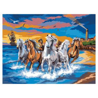 Рыжий кот 11-155356 Картина по номерам  Табун лошадей (30*40см, акриловые краски, кисть) Х-0402