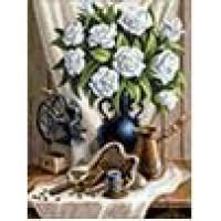 Алмазная живопись 11-156517 Алмазная живопись Картина стразами. Белые розы и черный кофе (30*40см, стразы, контейнер, холст без подрамника, инструкция) АЖ-1657, (Мосфа)