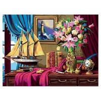 Рыжий кот 11-159275 Картина по номерам  Натюрморт с кораблем (30*40см, акриловые краски, кисть) Х-0408
