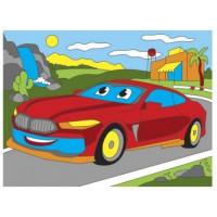 Рыжий кот 11-178487 Картина по номерам Яркая машина (18*24см, акриловые краски, кисть) Х-9399, (Рыжий кот)