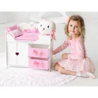 Лидер ПК 11-178898 Мебель для кукол 3в1 (белый, комод, шкаф, кровать, с постельным бельем и мягкими корзинами, 43*46*6см) (дерево) (в коробке) 71319, DiamondPrincess