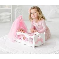 Лидер ПК 11-178899 Мебель для кукол. Кроватка (белая, с постельным бельем, подушкой и балдахином, 29*53*7см) (дерево) (в коробке) 71519, DiamondPrincess