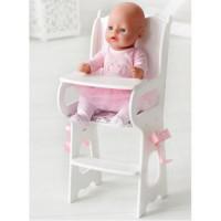 Лидер ПК 11-178900 Мебель для кукол.Стульчик для кормления (белый, с мягким сиденьем, 29*53*7см) (дерево) (в коробке) 71119,  DiamondPrincess