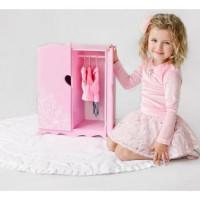 Лидер ПК 11-178901 Мебель для кукол. Шкаф (розовый, с дизайнерским цветочным принтом, 43*46*6см) (дерево) (в коробке) 72419, DiamondPrincess