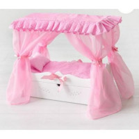 Лидер ПК 11-178902 Мебель для кукол. Кроватка (белая, с царским балдахином, подушкой, постельным бельем и ящиком, 43*46*6см) (дерево) (в коробке) 71219, DiamondPrincess