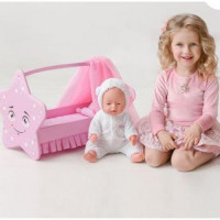 Лидер ПК 11-178903 Мебель для кукол. Кроватка Звездочка (розовая, с постельным бельем, подушкой и балдахином, 43*46*6см) (дерево) (в коробке) 74119,