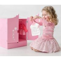 Лидер ПК 11-178904 Мебель для кукол. Шкаф (розовый, с дизайнерским звездным принтом, 43*46*6см) (дерево) (в коробке) 74219, DiamondStar