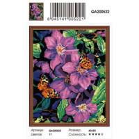 Zhejiang Yiwu Jiangbei 11-179088 Алмазная мозаика Клематисы и бабочка (40*50см, стразы круглые, контейнер, основа-холст с подрамником) QA200522