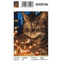 YIWU XINSHIXIAN ARTS AND CRAFTS CO.,LTD 11-179101 Картина по номерам Кот с гирляндой (40*50см, холст на подрамнике, кисти, акриловые краски) GX30146, (YIWU XINSHIXIAN ARTS AND CRAFTS CO.,LTD)