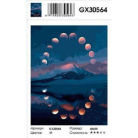 YIWU XINSHIXIAN ARTS AND CRAFTS CO.,LTD 11-179105 Картина по номерам Лунное затмение (40*50см, холст на подрамнике, кисти, акриловые краски) GX30564