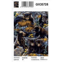 YIWU XINSHIXIAN ARTS AND CRAFTS CO.,LTD 11-179144 Картина по номерам Медведица и медвежата (40*50см, холст на подрамнике, кисти, акриловые краски) GX35728