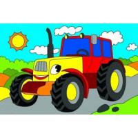 Рыжий кот 11-180959 Картина по номерам Мини Веселый трактор (10*15см, акриловые краски, кисть) Х-9361