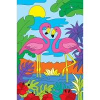 Рыжий кот 11-182869 Картина по номерам  Два ярких фламинго (20*30см, акриловые краски, кисть) Х-2566, (Рыжий кот)