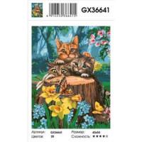 YIWU XINSHIXIAN ARTS AND CRAFTS CO.,LTD 11-183518 Картина по номерам Любопытные коты (40*50см, холст на подрамнике, кисти, акриловые краски) GX36641