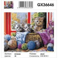 YIWU XINSHIXIAN ARTS AND CRAFTS CO.,LTD 11-183519 Картина по номерам Котята в корзинке (40*50см, холст на подрамнике, кисти, акриловые краски) GX36646