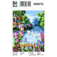 YIWU XINSHIXIAN ARTS AND CRAFTS CO.,LTD 11-183522 Картина по номерам Беседка у озера (40*50см, холст на подрамнике, кисти, акриловые краски) GX6712