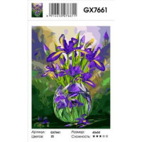 YIWU XINSHIXIAN ARTS AND CRAFTS CO.,LTD 11-183526 Картина по номерам Ирисы в вазе (40*50см, холст на подрамнике, кисти, акриловые краски) GX7661