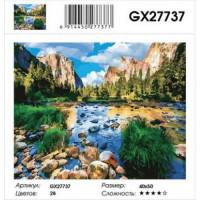 YIWU XINSHIXIAN ARTS AND CRAFTS CO.,LTD 11-183560 Картина по номерам Горное озеро (40*50см, холст на подрамнике, кисти, акриловые краски) GX27737