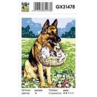 YIWU XINSHIXIAN ARTS AND CRAFTS CO.,LTD 11-183568 Картина по номерам Немецкая овчарка с котятами(40*50см, холст на подрамнике, кисти, акриловые краски) GX31478