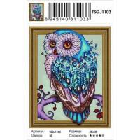 Zhejiang Yiwu Jiangbei 11-183643 Алмазная мозаика3D Голубая сова (40*50см, стразы круглые, контейнер, основа-холст с подрамником) TSGJ1103