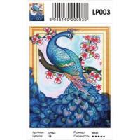 Zhejiang Yiwu Jiangbei 11-183670 Алмазная мозаика5D Павлин и сакура (40*50см, стразы, контейнер, основа-холст с подрамником, частичная выкладка) LP003