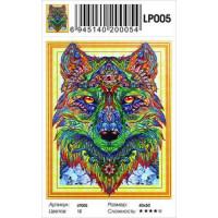 Zhejiang Yiwu Jiangbei 11-183671 Алмазная мозаика5D Цветной волк (40*50см, стразы, контейнер, основа-холст с подрамником, частичная выкладка) LP005