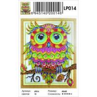 Zhejiang Yiwu Jiangbei 11-183672 Алмазная мозаика5D Красочный филин (40*50см, стразы, контейнер, основа-холст с подрамником, частичная выкладка) LP014