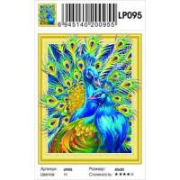 Zhejiang Yiwu Jiangbei 11-183673 Алмазная мозаика5D Яркие павлины (40*50см, стразы, контейнер, основа-холст с подрамником, частичная выкладка) LP095