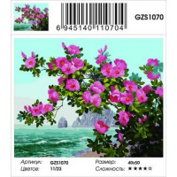 YIWU XINSHIXIAN ARTS AND CRAFTS CO.,LTD 11-183699 Картина по номерам 2в1 Цветущий шиповник (40*50см, холст на подрамнике, акриловые краски, стразы) GZS1070