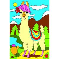 Рыжий кот 11-187106 Картина по номерам Мини Красивая лама (10*15см, акриловые краски, кисть) Х-9360