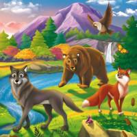 Рыжий кот 11-190010 Картина по номерам  Дружелюбные лесные звери (20*20см, акриловые краски, кисти) ХК-8766, (Рыжий кот)