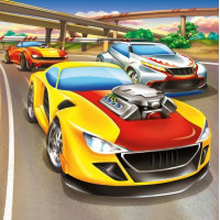 Рыжий кот 11-190012 Картина по номерам  Быстрые гонки машин (20*20см, акриловые краски, кисти) ХК-8768, (Рыжий кот)