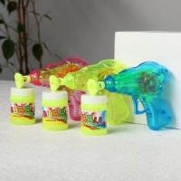 Прочие 11-191449 Мыльные пузыри (пистолет, флакон с мыльным раствором 50мл, свет) (в пакете) (от 3 лет) 495878