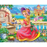 Рыжий кот 11-192492 Алмазная мозаика Принцесса с котенком у замка (блестящая) (17*22см, стразы, контейнер, основа-холст без подрамника, мольберт) ASM029