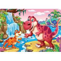 Рыжий кот 11-192493 Алмазная мозаика Удивительный мир динозавров (блестящая) (17*22см, стразы, контейнер, основа-холст без подрамника, мольберт) ASM028