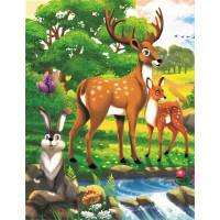 Рыжий кот 11-192542 Картина по номерам Дружелюбные зверята у реки (17*22см, акриловые краски, кисти) ХК-8110