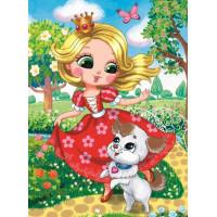 Рыжий кот 11-192544 Картина по номерам Злотовласая принцесса с питомцем (22*30см, акриловые краски, кисти) ХК-8721