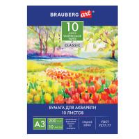 "Brauberg 111063 Папка для акварели БОЛЬШОГО ФОРМАТА А3, 10 л., 200 г/м2, 297х420 мм, BRAUBERG ART ""CLASSIC"", ""Весна"", 111063"