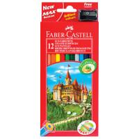 FABER-CASTELL 120112 Карандаши цветные FABER-CASTELL, 12 цветов, с точилкой, картонная упаковка с подвесом, 120112