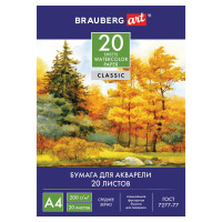 """Brauberg 125226 Папка для акварели А4, 20 л., 200 г/м2, 210х297 мм, BRAUBERG ART CLASSIC, """"Осенний лес"""", 125226"""