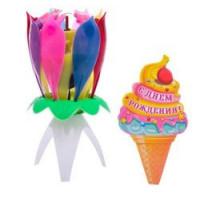 Прочие 13-845238 3021064 Свеча-цветок в торт музыкальная (12*5см, разноцветная)