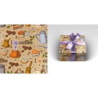 Прочие 13-845752 Бумага упаковочная рулон 70*100см Кофе-брейк (1 лист) УБ1603, (МИЛЕНД)