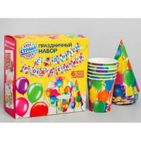 """Прочие 13-847668 2865993 Праздничный набор бумажной посуды """"С Днем рождения!"""" (6 стаканов, 6 тарелок, 6 колпаков, гирлянда)"""
