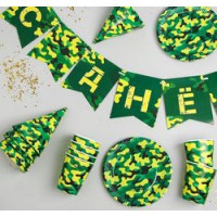 """Прочие 13-852553 3877351 Праздничный набор бумажной посуды """"С Днем рождения!"""" (6 стаканов, 6 тарелок, 6 колпаков, гирлянда, Хаки)"""