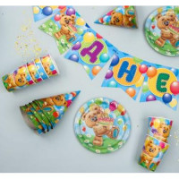 """Прочие 13-878222 2865991 Праздничный набор бумажной посуды """"С Днем рождения!"""" (6 стаканов, 6 тарелок, 6 колпаков, гирлянда, Мишка с шарами)"""